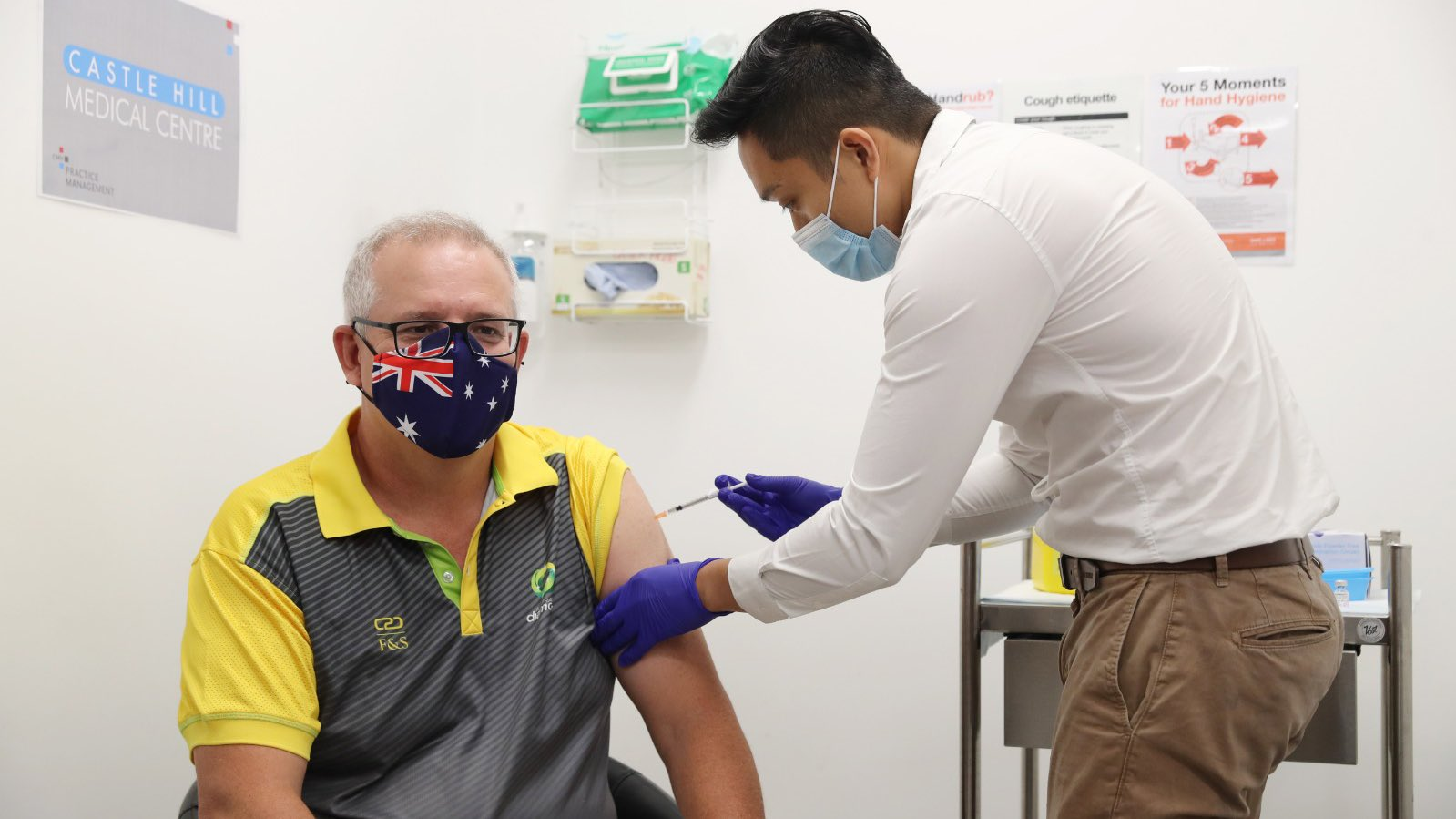 Prime Minister Scott Morrison receives his vaccine. Image courtesy Scott Morrison via Twitter.