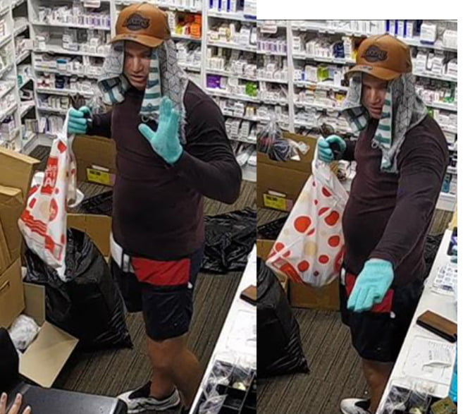 two pics of man with towel on head in pharmacy, wearing gloves and demanding medicine