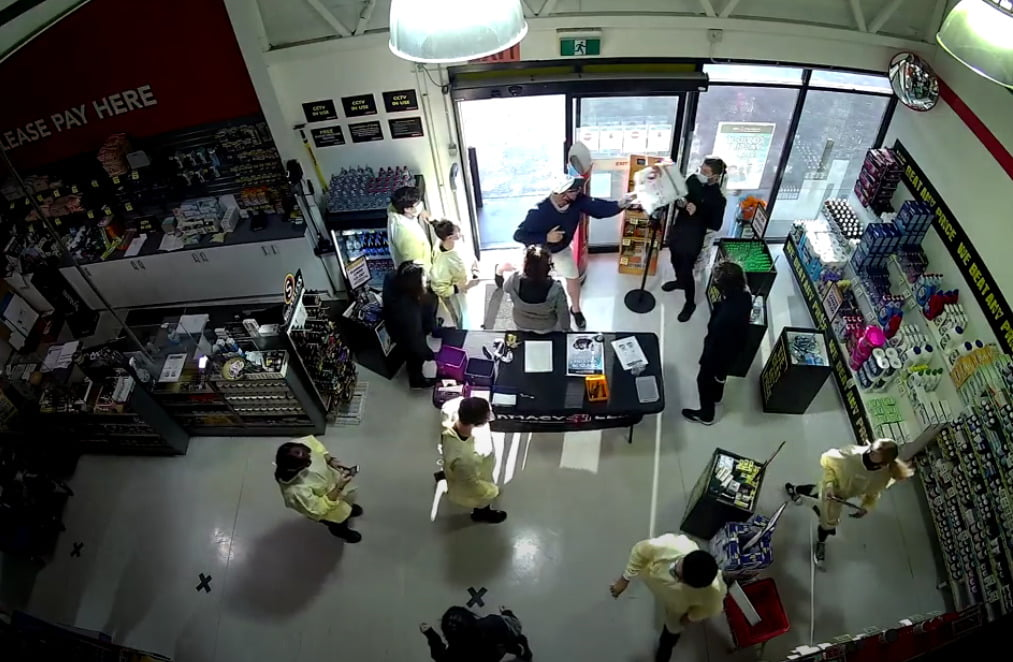 A man attacks staff at Pharmacy4Less Jesmond. Image: Supplied