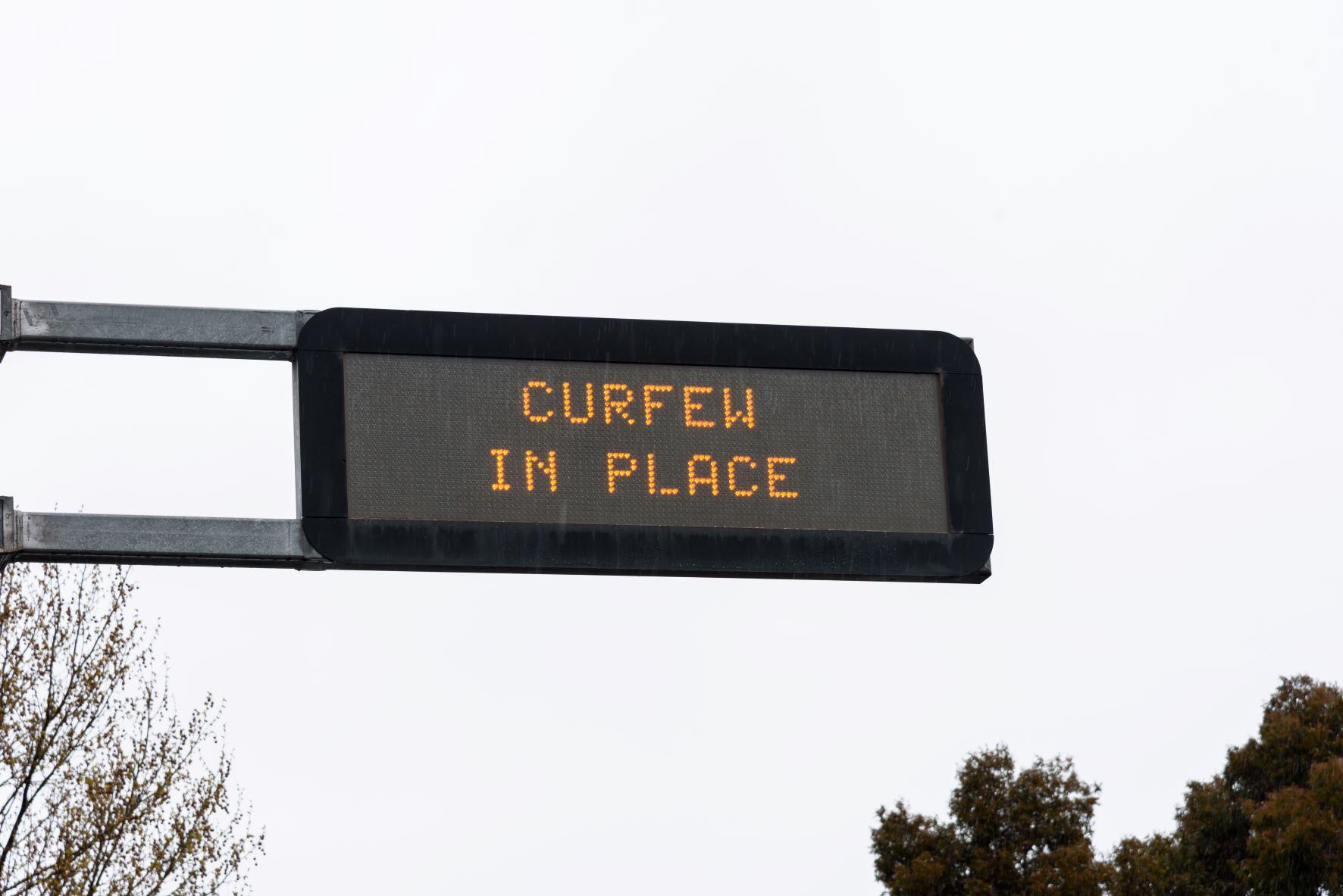 Melbourne curfew sign